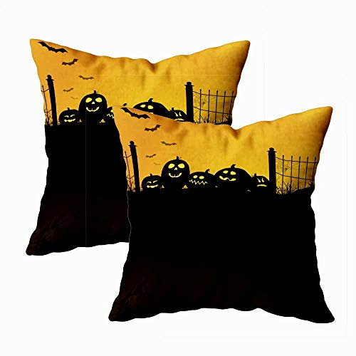 Teepel Throw Pillow Covers,Boho Pillow Covers Set of 2 18X18 Vertical Halloween Design Copy Space Large Dark Black Texture Area Below Square Decorative Pillow Covers for Couch