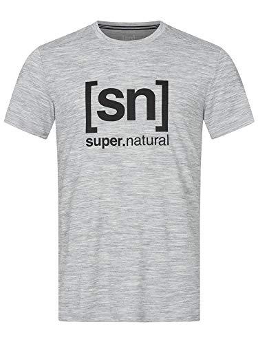 super.natural Tee-shirt Imprimé Manches Courtes pour Hommes, Laine Mérinos, M LOGO TEE, Taille: XL, Couleur: Gris chiné/Noir