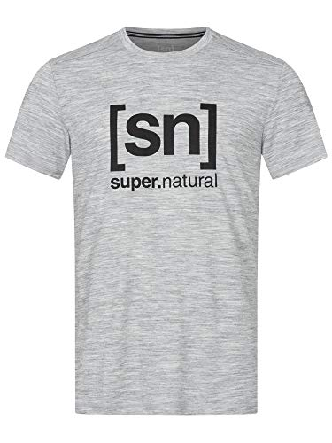 super.natural T-Shirt, Ash Melange/Jet Black Logo, L Mens