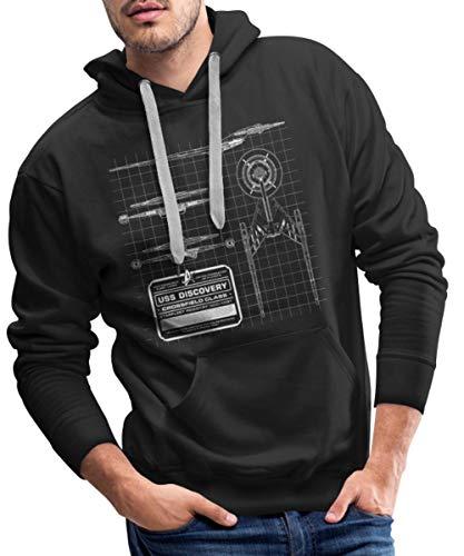 Star Trek Discovery Prototype Épure Sweat-Shirt à Capuche Premium pour Hommes, S, Noir
