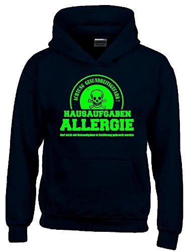Coole-Fun-T-Shirts Hausaufgaben ALLERGIE - Vorsicht Gesundheitsgefahr ! Nicht mit Hausaufgaben in Verbindung bringen ! Kinder Sweatshirt mit Kapuze Hoodie schwarz-Green, Gr.140cm