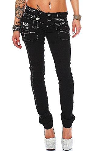 Cipo Baxx Sexy Damen Jeans Stretch Röhre Hose Slim Stright Fit Skinny Hüftjeans Casual verschiedene Varianten Styles, Blau (Modell-11), Gr. 28W / 30L