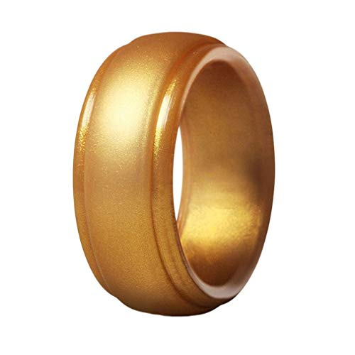 VPbao 1pcs of Set 8MM Wide Men's Ring Silicone Wedding Band Stackable Rubber Affordable Rings Gold 12