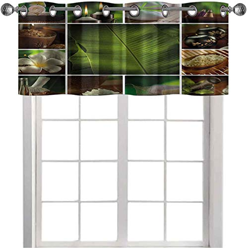 Valances, Collage of Candles Stones Herbal Salts Towels Botanic Plants Design Print, 42'W x 18'L Window valances for Living Room, Green White and Brown