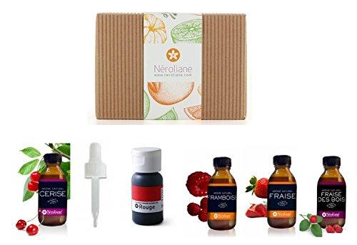 Arome naturel : fraise, cerise, framboise, fraise note fraise des bois, colorant naturel rouge + 1 pipette offerte