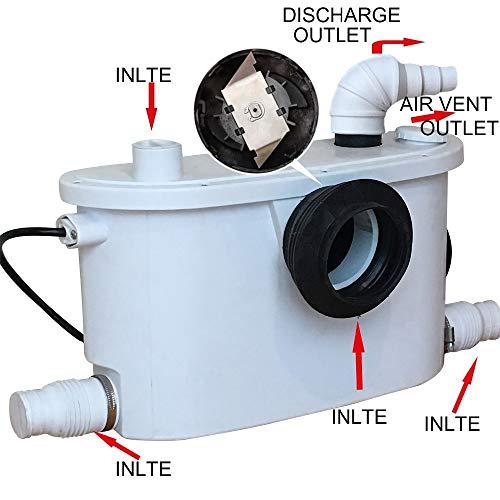 Pompa Maceratore 4 in 1 Pompa Sanitaria per WC, Lavello, Doccia 400 Watt