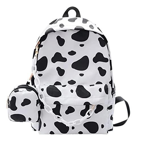 Mochila de nylon blanca de la moda de los estudiantes de la mochila de la cremallera mochilas escolares con la bolsa pequeña multifuncional regalos del festival femenino