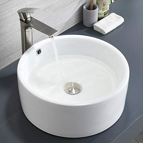 Bathroom Above Counter Vessel Sink with Overflow, BoomHoze Round Porcelain Ceramic Vanity Art Basin