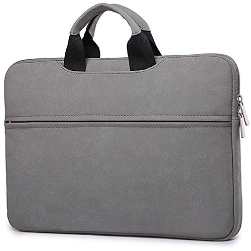 Leather Laptop Sleeve Bag Compatible with 15.6 inch Acer Aspire, Predator, Toshiba, Inspiron, ASUS P-Series, HP Pavilion, Chromebook Notebook, Polyester Vertical Case Cover with Pocket, Gray