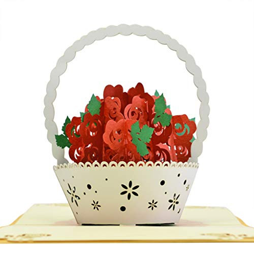 CUTE POPUP Mother's Day pop up Card, Flowers Birthday Pop Up Card - Beautiful Flower Basket- Touching And Surprising Popup Card, Send Your Best Wishes To Your Family and Your Friends on Any Occasion