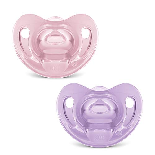Kit com 2 Chupetas Sensitive Soft 100% Silicone Girl S2 - NUK, Rosa/Lilás, Tam 2 (6-18 Meses)