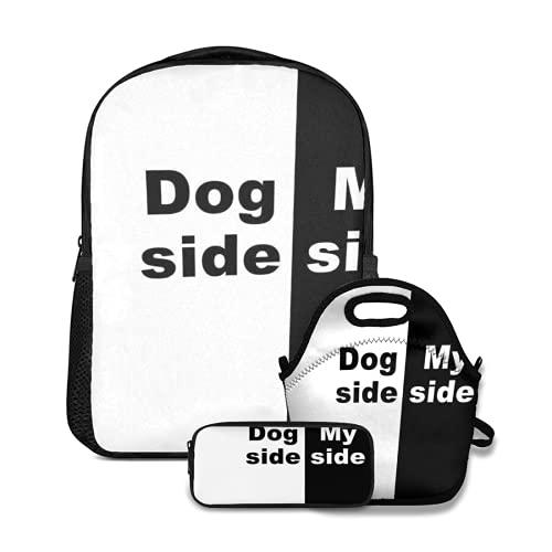 Conjunto de mochila escolar,Mi lado del perro,con bolsa de almuerzo y estuche para lápices para mochila para adolescentes