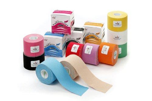 Nasara 10x Kinesiologie Tape kinesiologische Tapes * 10 Farben im Set * 5m x 5cm