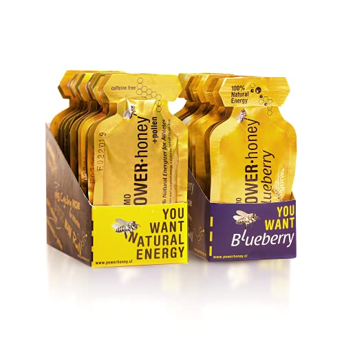 POWER HONEY Blueberry & Classic Energy Gel – 24 Units per Pack of 1.3 Oz - Preworkout Energy with Fast-Acting Carbohydrates – Energy Gel Natural Ulmo Honey/Blueberry with Caffeine Energy Supplements
