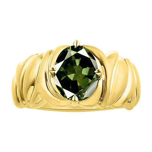 Solitaire Anillo de zafiro verde en oro amarillo de 14 quilates – piedra de color piedra natal anillo