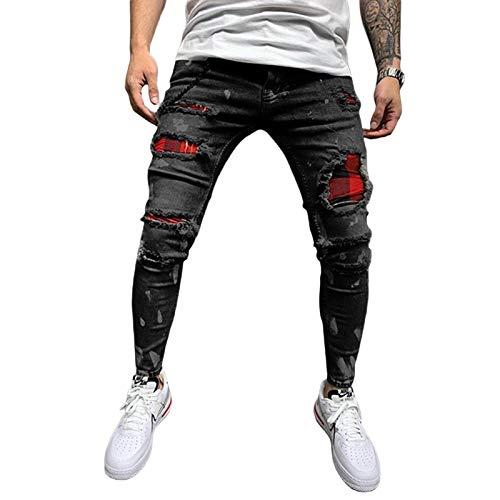 Jeans Strappati da Uomo Pantaloni a Vita Alta da Ragazzo Fori Attillati Motociclista Hip-Hop Jeans Elasticizzati Plaid Pantaloni Attillati Strappati Patchwork (Nero, M)