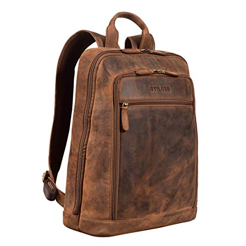 STILORD 'Watson' Laptop Rucksack 15.6 Zoll Leder Backpack Business Lederrucksack Herren Rucksack XL für Breite DIN A4 Ordner Tagesrucksack Vintage Echtleder, Farbe:Sepia - braun