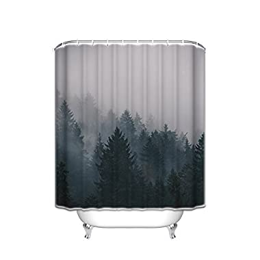 Prime Leader Custom Shower Curtains Fog Pine Trees Forest Waterproof Polyester Fabric Shower Curtain 72 (w) x 84 (h)