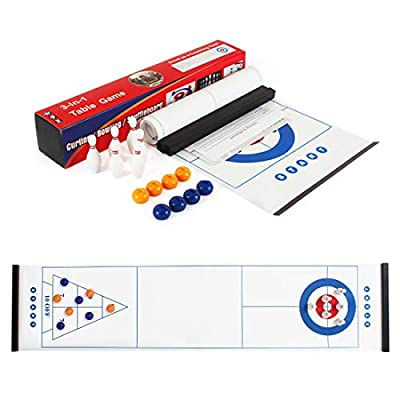 3 in 1 Tabletop Fun Board Games Shuffleboard, Curling Game and Bowling Set ,Portable Family Games for Kids and Adults for Indoor and Outdoor by JL Jelle Med