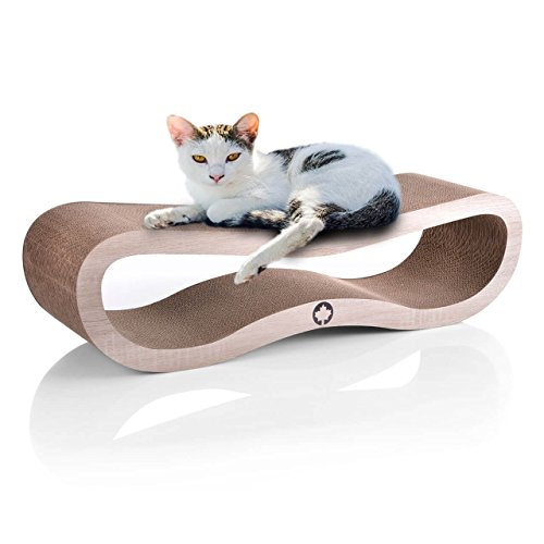 CanadianCat Company ® | XXL Orbit 2.0 Lounge | Natur | Kratzmöbel, Kratzbrett | Qualitäts-Pappe + Katzenminze | 84 X 24 X 23cm