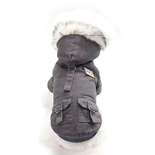 YangJinShan Haustierhundekleidung, Herbst und Winter Mode Haustier gut aussehende militärischer Stil Baumwollmantel mit Hut, Farbe: Dunkelgrau, Größe: S