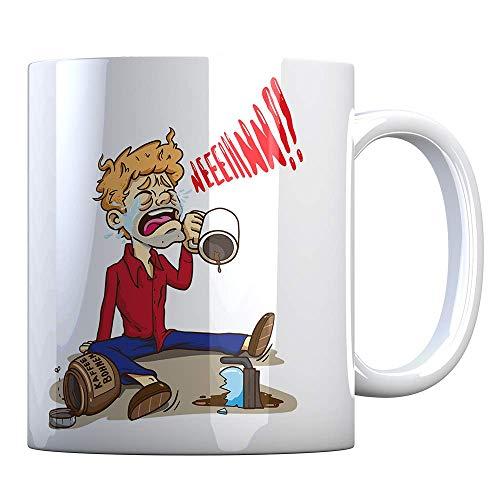 Tassenbude Tasse mit lutigem Motiv für Kaffeesüchtige Kaffeetrinker Kaffeeliebhaber Cartoon beidseitig bedruckt spülmaschinenfest Kaffeebohnen ich brauch kaffee