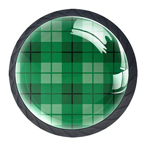 OLEEKA Tirador de manijas de cajón Perillas Decorativas del gabinete del cajón Manija del cajón del tocador 4 Piezas,Vector de Tela Escocesa Verde
