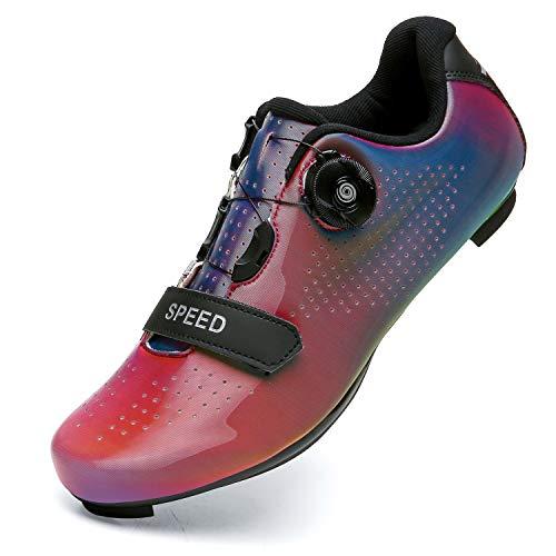 Scarpe da Ciclismo per Uomo Donna Scarpe da Ciclismo su Strada Scarpe da Equitazione Fibbia Rotante per Scarpe Tacchetta Traspirante CRed44