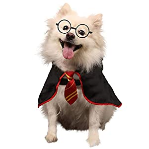 Coomour Dog Shirt Pet Wizard Costume Cat Soft Clothes for Dogs Cats Soft Hoodies with Glasses(Large)