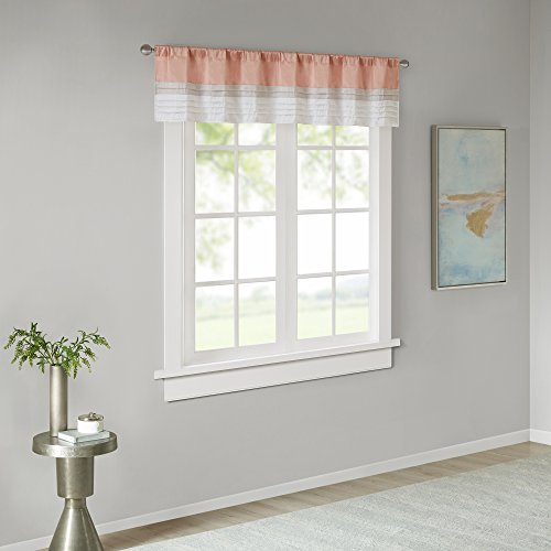 """Rod Pocket Valance Window Curtains For Bedroom ,Transitional Modern Light Bedroom Curtains , Pieced Amherst Curtain Panels For Living Room Family Room Curtains , 50x18"""", 1-Panel Pack"""