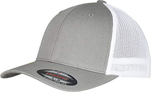 Flexfit Unisex Trucker Recycled Mesh Baseball Cap, Grey/White, S/M