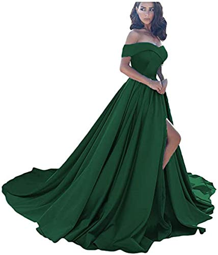 Off Shoulder Prom Dresses Long Satin Split Senior Prom Ball Gown 2021 Puffy Full Skirts Emerald Green US12