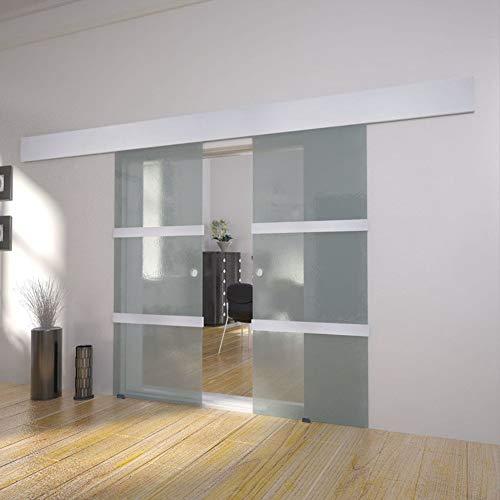 Hanper Puerta corredera de cristal para el hogar, doble puerta corredera de cristal, para sala de estar, dormitorio, baño, 205 x 75 cm