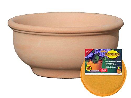 Hentschke Keramik Spar Set: Pflanzkübel + FlowerPad Ø 55 x 27 cm, terrakotta, 011.055.53 Blumenkübel für Draußen + Innen - Made in Germany