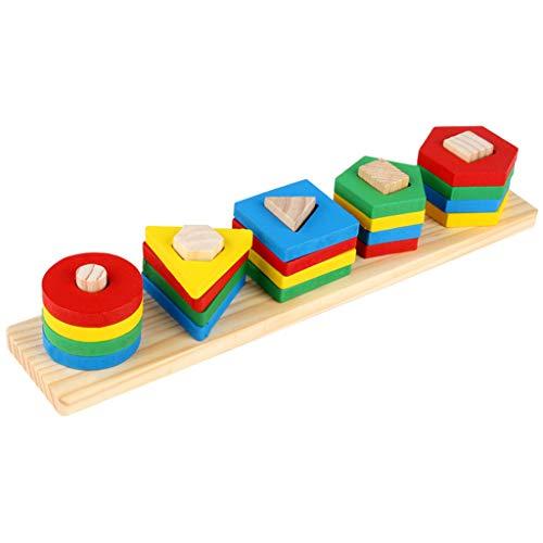SY-Home Jouets éducatifs en Bois, Forme Sorter géométriques Bloc Stacking Jouets pour 1 2 3 4 Ans Garçons Filles Jeunes Enfants