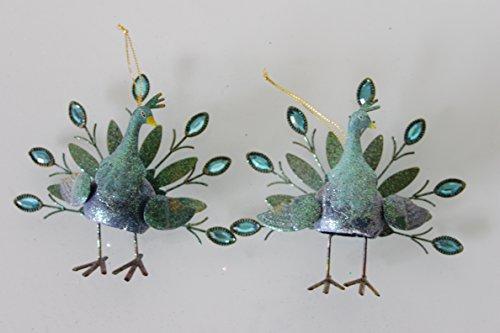 Christmas @ Thumpers Paon Oiseaux – (Lot de 2) 3 Dimensionnelle Décorations en métal avec Strass – Neuf pour 2015