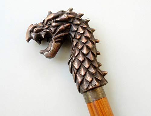 Desconocido Generic Bastón de Madera Dura Estilo dragón Antiguo Vintage Bastón de Cabeza de dragón