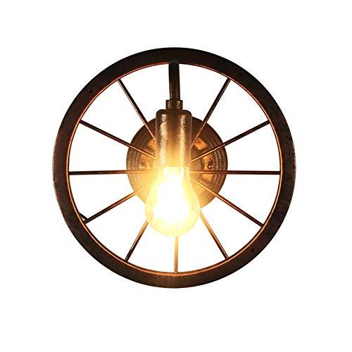 XJAN Rustikale Wandleuchten Industriebeleuchtung Wandleuchte Wasserleitung Fahrradfelge Lichter Led Antik Eisen Metall E27 Basis Steampunk Hause Lampe Retro Rot Rost