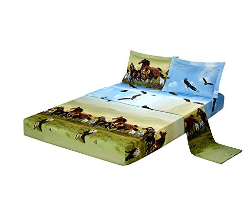 4 Piece Set Luxury 3d Print Vivid Animals Pattern Deep Pocket Bed Sheet Set (1 Flat Sheet,1 Fitted Sheet,2 Pillow Case/Pillow Sham)(King, Horse Eagle)