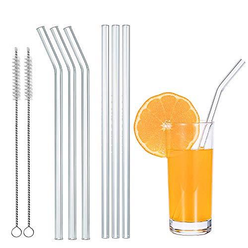 LECOKIT Glas Strohhalme 6 Stück  + 2 Bürsten wiederverwendbar glas Trinkhalme, handgefertigt umweltfreundlich,ideal für Cocktail, Smoothie etc Saft