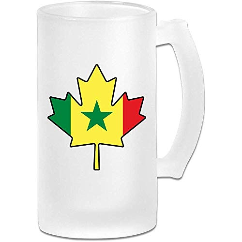 Senegal Flag Canada Maple Leaf Frosted Glass Stein Beer Mug - Taza de pub personalizada personalizada - Regalo para su bebedor de cerveza favorito