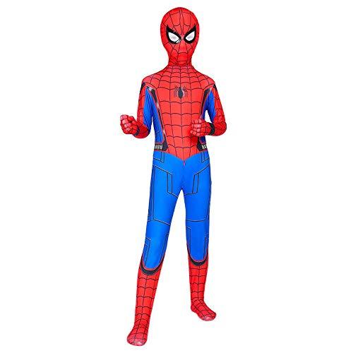 RNGNBKLS Enfant Spiderman Déguisement Carnaval d'halloween Cosplay Party Fantaisie Costume Super Héros Super Héros Spandex/Lycra,C-110(100-109cm)