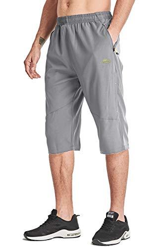 MAGCOMSEN 3/4 Short d'extérieur pour homme à séchage rapide avec cordon de serrage réglable, Homme, gris clair, 44
