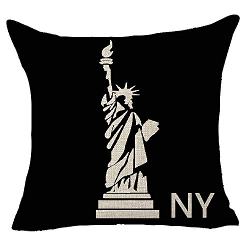 Retro comic New York the USA Statue of Liberty Throw Pillow Cover Cushion Case Cotton Linen Material Decorative 18