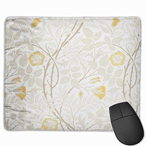 Gaming Mouse Pad, Premium-strukturierte Mouse Mat Pads, niedliches Mousepad für Spieler, Büro und Zuhause Gelb Blumig Modernes Blumenmuster Interieur Französisch Vintage Braun Schöner Teppich Chiffon