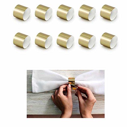Jakopabra 10 Stück Serviettenringe aus metallischem Papier (Gold)