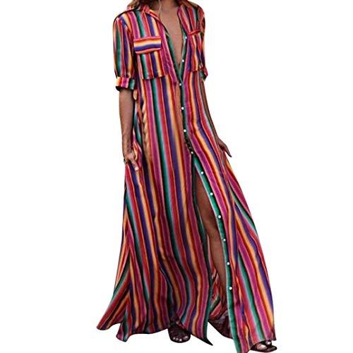 Womens Dress Half/Long Sleeve Striped Multicolor Bohe Long Robe Dress by Gergeos