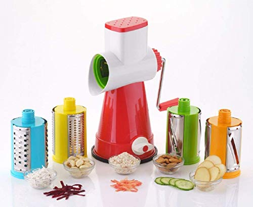 GROSA Premium Plastic Grater, Shredder and Slicer for Kitchen, Manual 3 in 1 Rotary Cutter, Vegetable Choppers for Kitchen