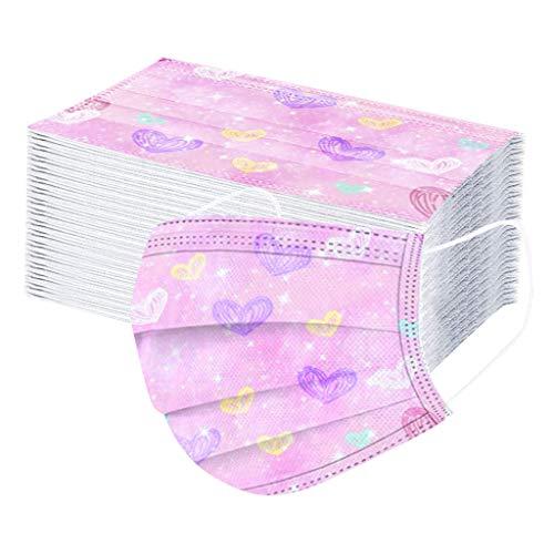 Writtian 50 Stück Einweg 3 lagig Mundschutz mit Motiv Bedruckte Atmungsaktive Multifunktionstuch Bandana Halstuch Schals für Unisex Erwachsene Mund und Nasenschutz Damen Herren
