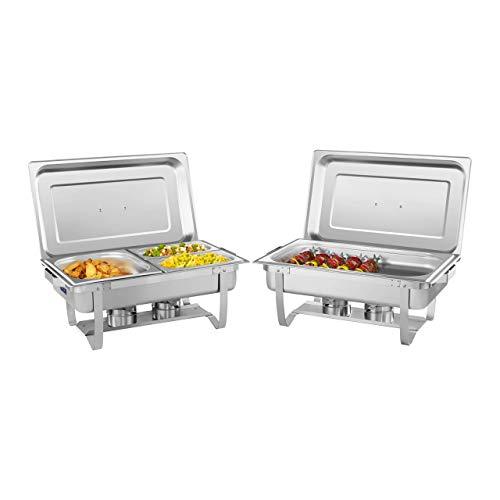 Royal Catering RCCD-2.4GN-1 Chafing Dish Chauffe-Plat Bain-Marie Set 2 Éléments (2 brûleurs sécurisés, Récipient pour aliments 16 L, Acier inoxydable, Incl. bacs GN 1/1, 1/2, 2 x 1/4)